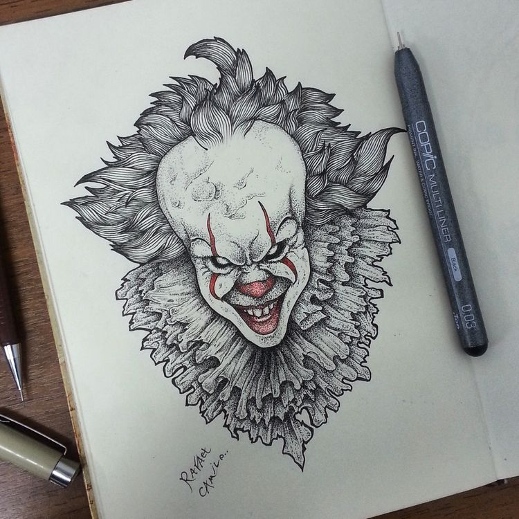 IT PENNYWISE #it #pennywise #dotwork #blackwork #draw