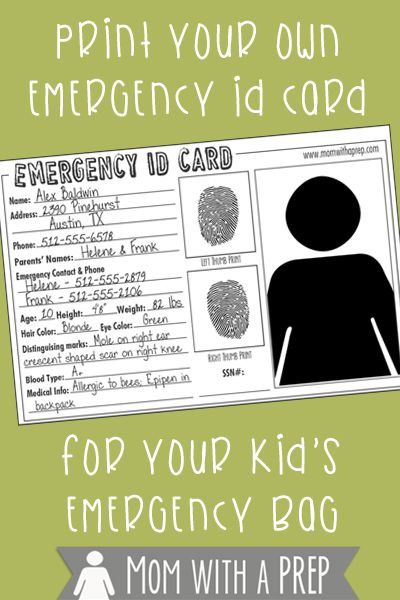 do you have emergency id cards with pertinent information about your children for them to carry in their school emergency kits your emergency bags or even
