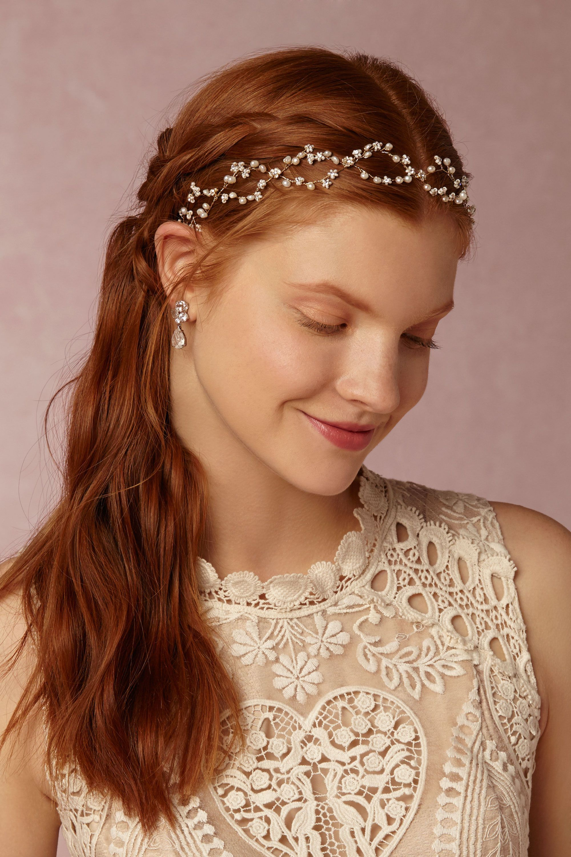 bhldn's twigs & honey pearldrop halo in gold | wedding, wedding