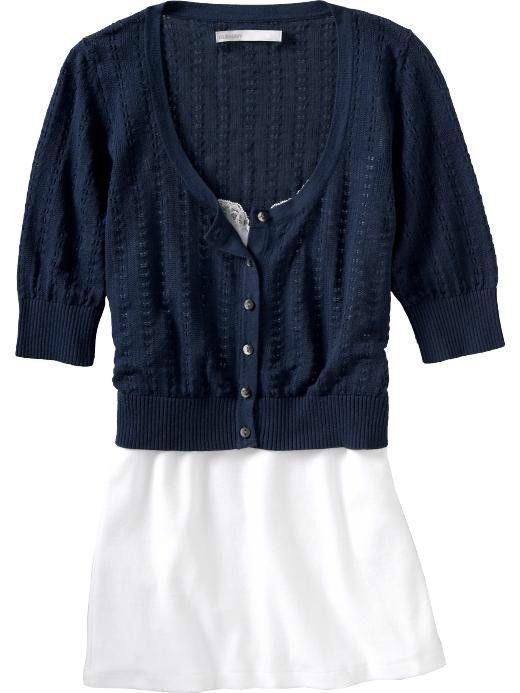 OLD NAVY BLUE BUTTON UP SHORT SLEEVE CROPPED CARDIGAN | In My ...