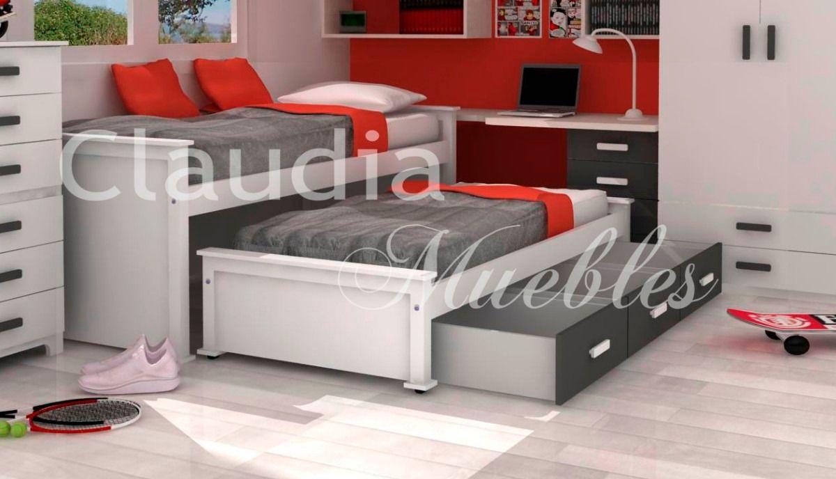 Cama nido en laca poliuretanica blanca cajones bajo cama en mercadolibre cama - Cama nido blanca con cajones ...