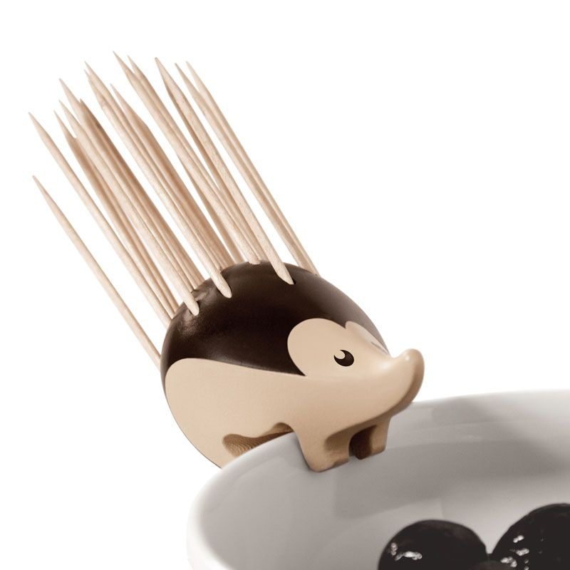 Kipik Toothpick Holdelr: Stands on the table or on the edge of a bowl. Made in France of 100% recyclable plastic #Toothpick_Holder #Hedgehog
