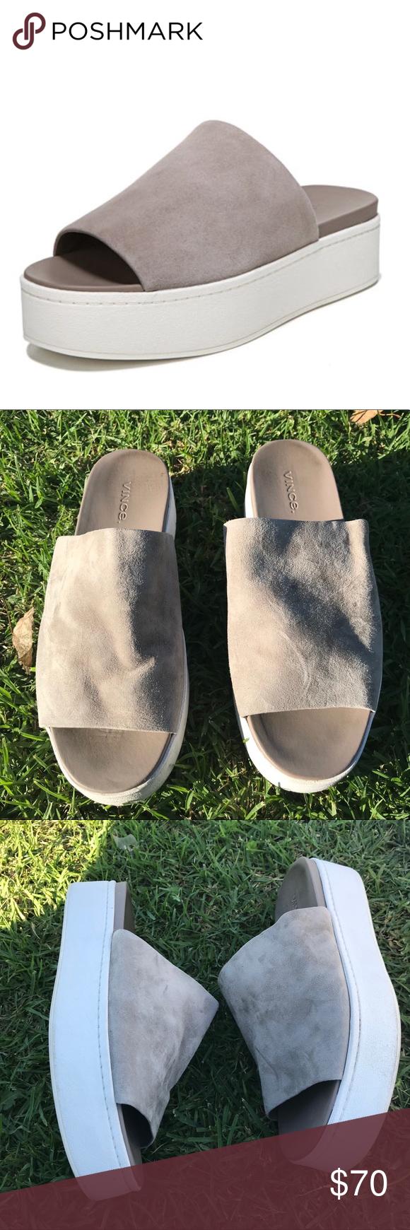 840b6467838 Vince Walford Flatform Suede Slide Sandal Vince suede and leather sandal.  1.5