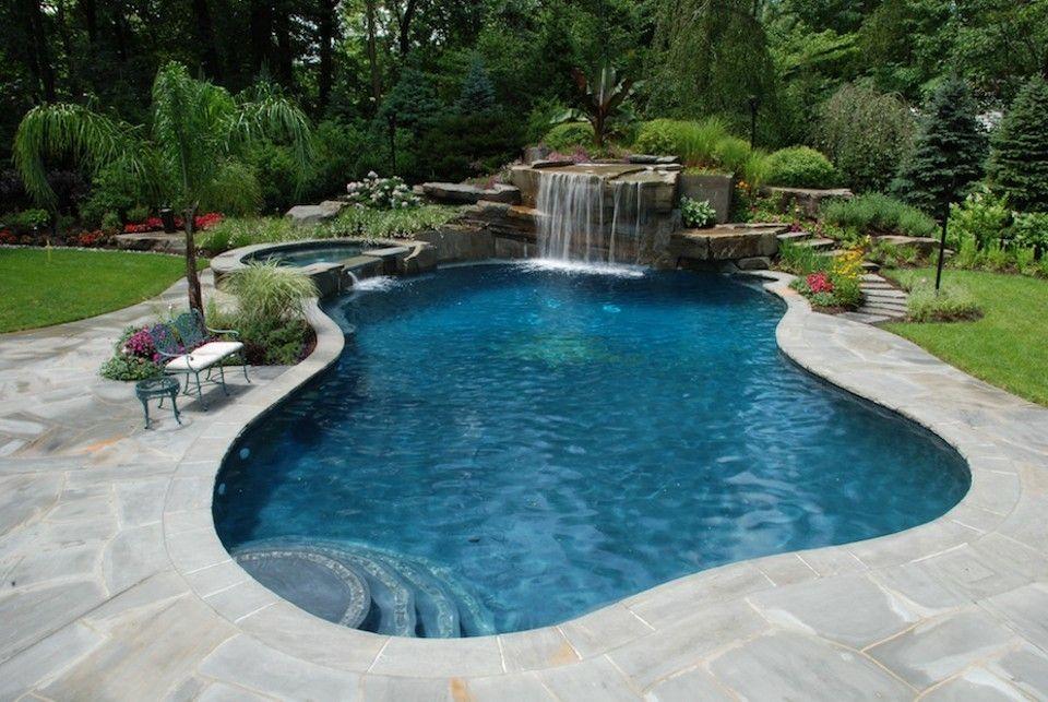 Grey Stone Around Pool Backyard Pool Landscaping Backyard Pool