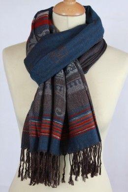 d0378f95ca10 Foulard ethnique bleu en coton et viscose   Foulard Femme ...