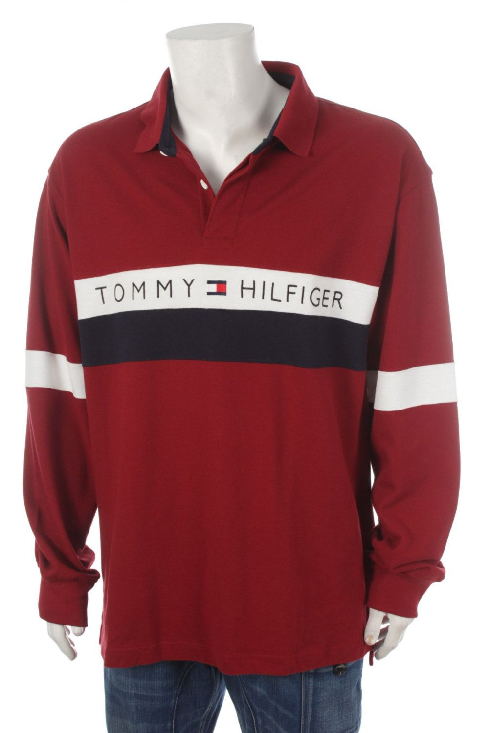 Rare Vintage 90s Tommy Hilfiger Big Logo Spell Out Polo Sweatshirt Color Block Blue White Red Size Xxl By Jeans And Hoodie Tommy Jeans Sweatshirt Inspiration
