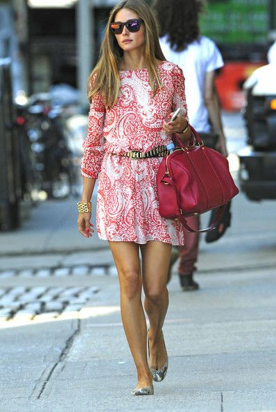Olivia Palermo wearing Louis Vuitton Sofia Coppola Satchel bag Pretty Ballerinas Montreal snake flats H&M Metal Belt ASOS Skater Dress In Paisley Print With Lace Up Sleeve Westward Leaning N9.9. Color Revolution Sunglasses in Neon Sunset