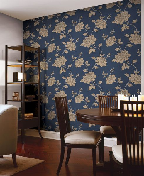 Navy Blue And Br Wallpaper Feature Wall Gorgeous Dining Room Decor Idea