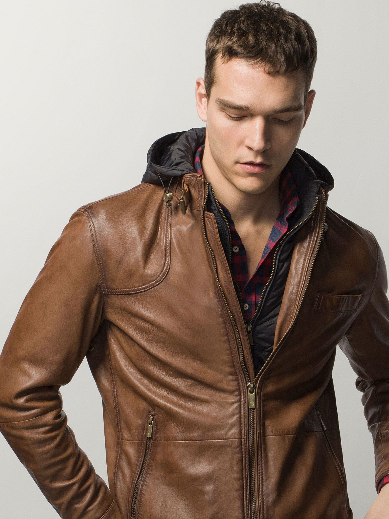 HOODED JACKET WITH NAPPA FRONT.