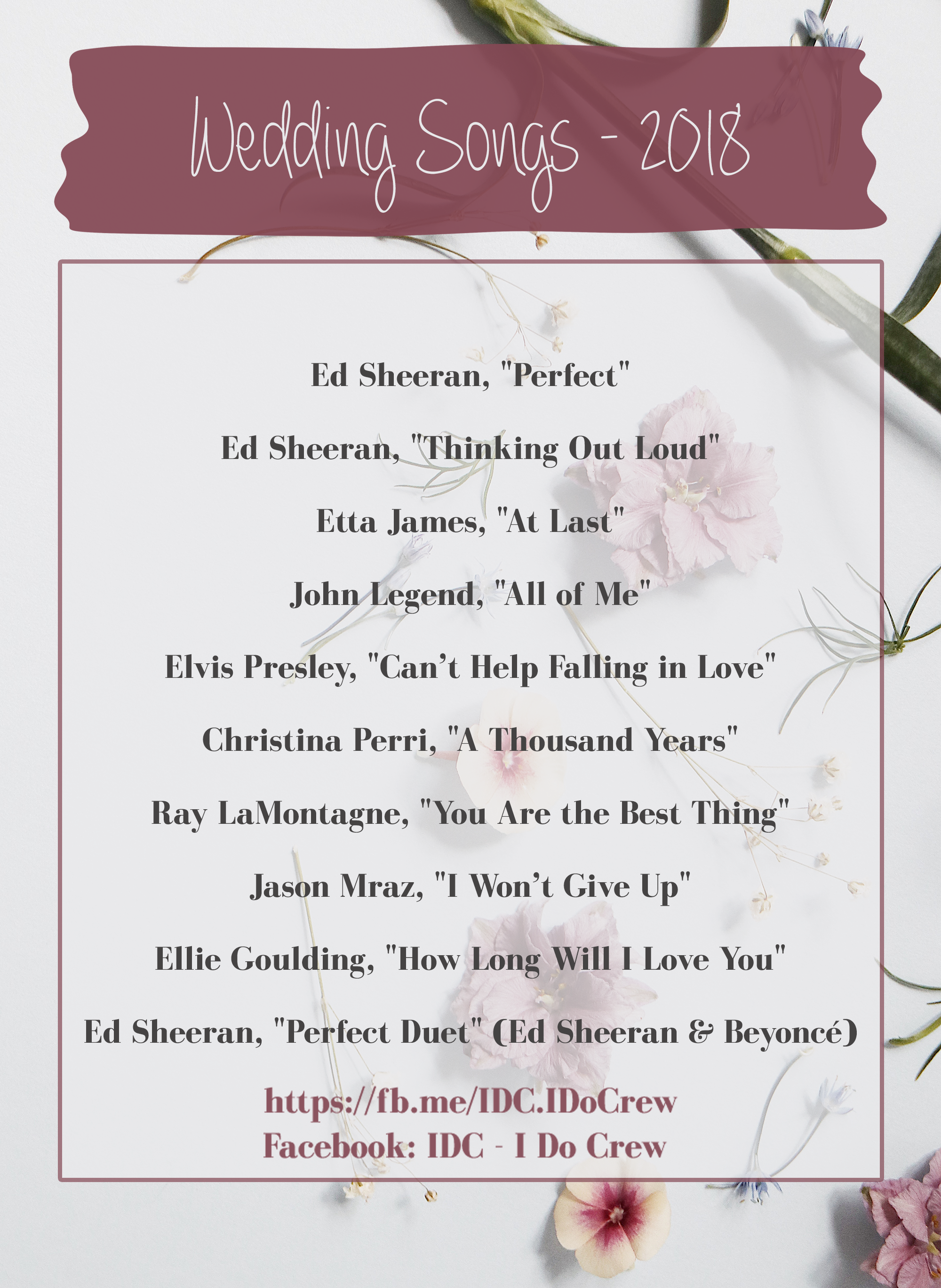 The Most Popular Songs For Your Wedding 2018 Popular Song List For Weddings Choose What Is Trending On Popular Wedding Songs Wedding Song List Wedding Songs