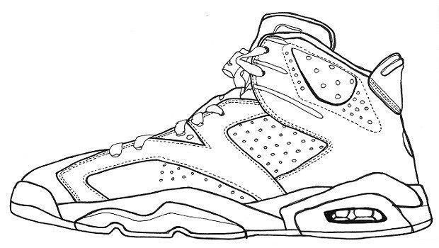 Sketch Of Air Jordan Vi Sneakers Drawing Sneakers Sketch Jordan Coloring Book
