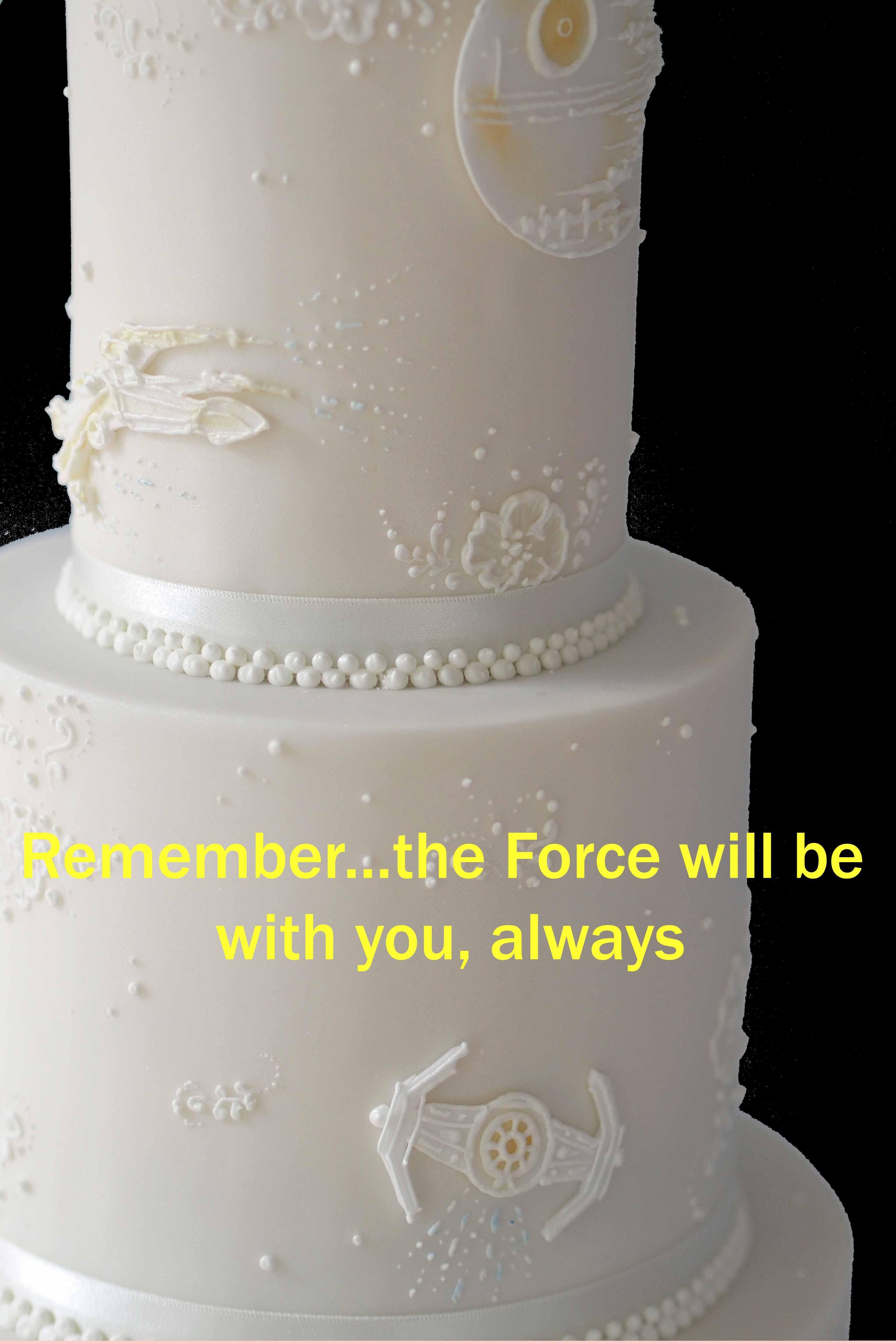 Elegant three tier white weddingcake with piped starwars