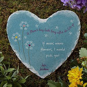 A Moms Hug Personalized Heart Garden Stone A Moms Hug Personalized Heart Garden Stone