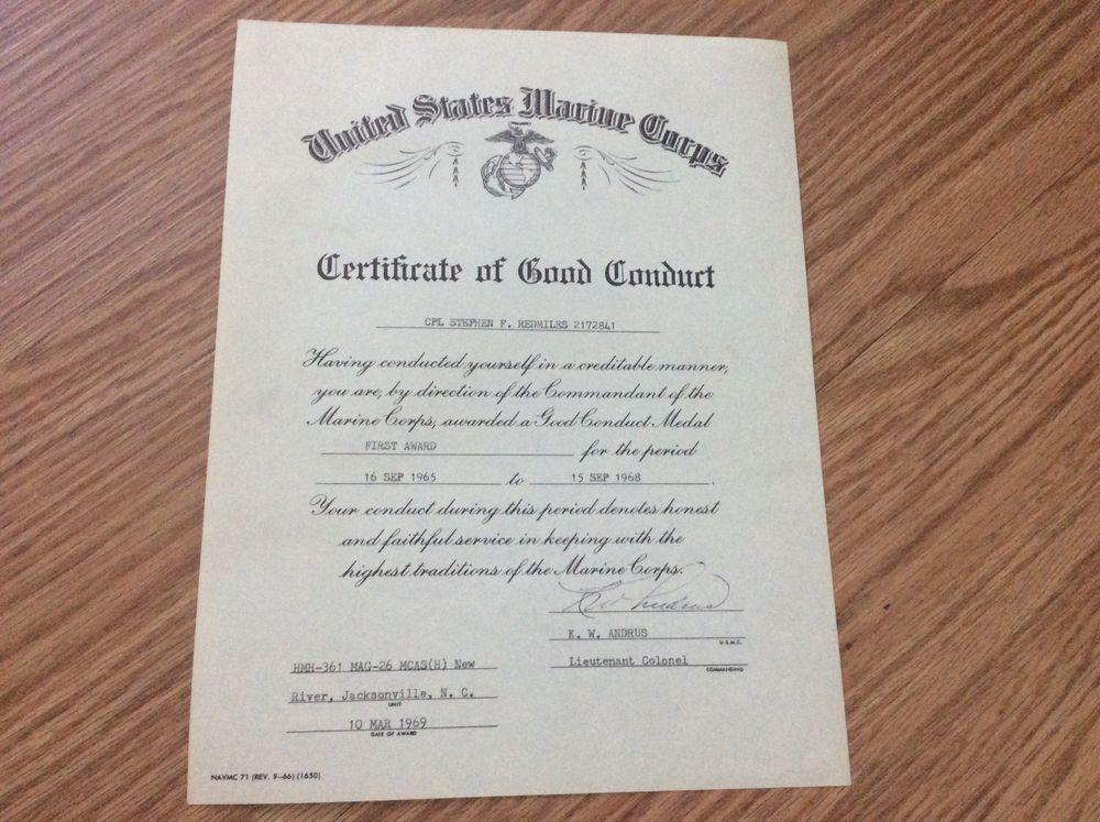 1969 USMC Certificate of Good Conduct CPL Stephen Redmills HMH-361 ...