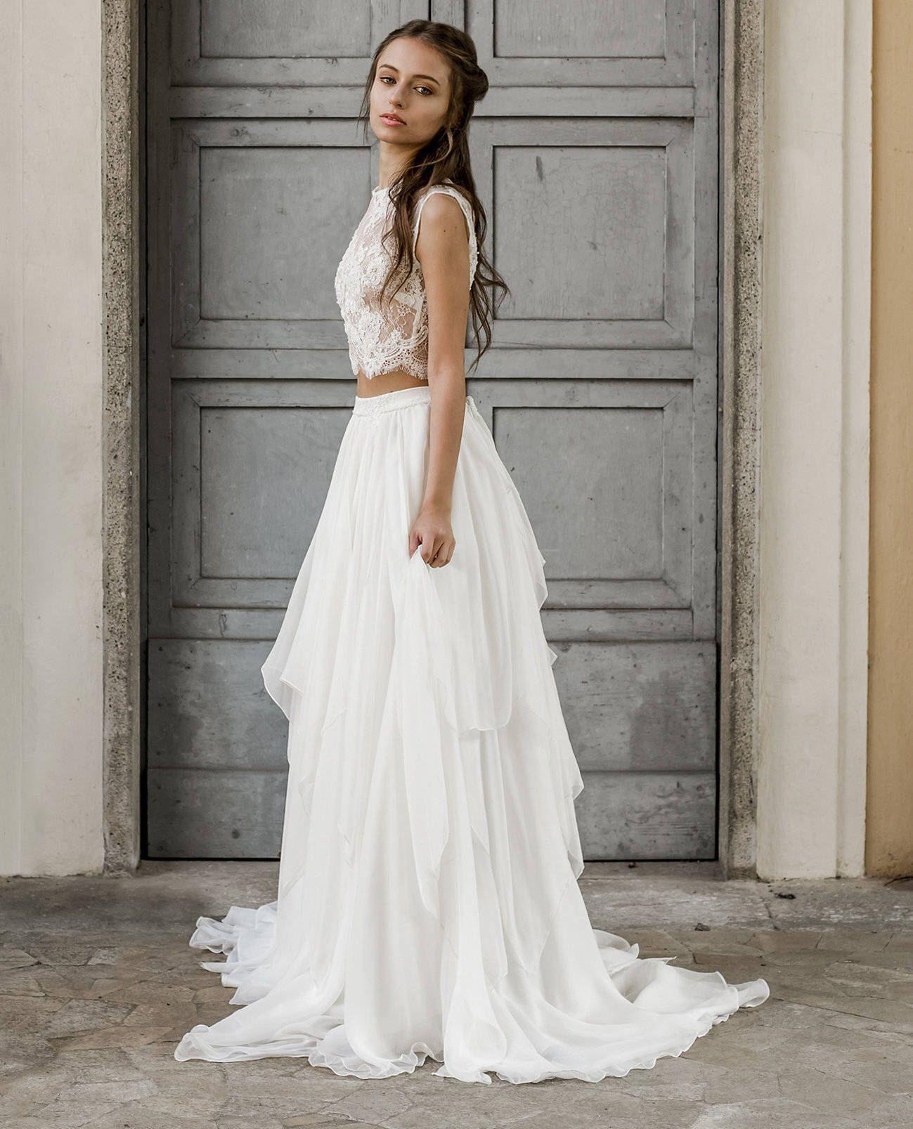 Wedding dresses com  Silk and lace wedding separates bridal separates  piece wedding
