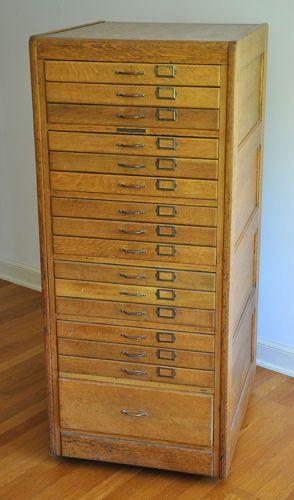 Drawer Flat File Antique Oak