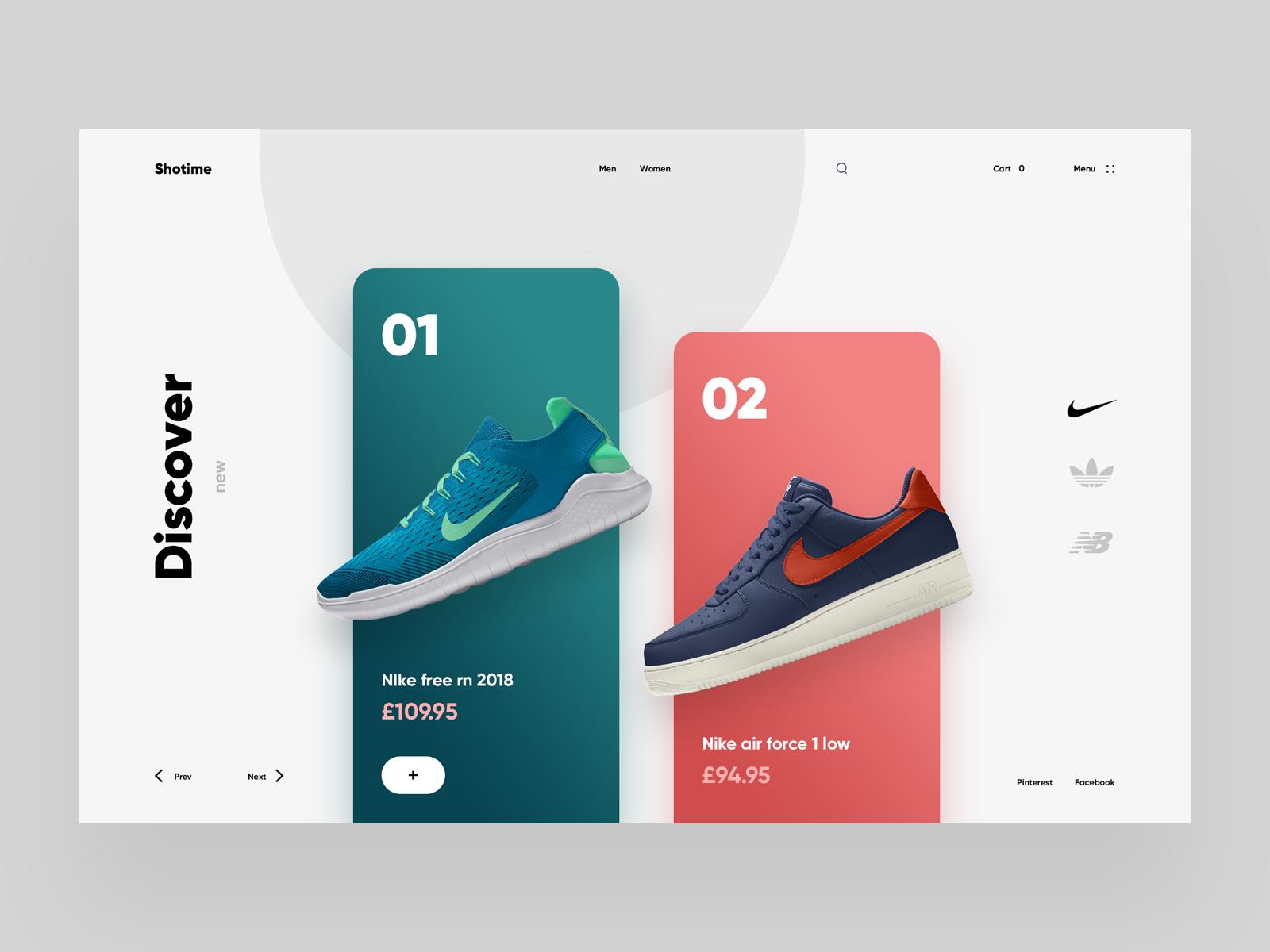 los angeles d32d7 29a0f Shotime e-commerce inspiration giga tamarashvili shop buy cart landing  store ecommerce colors sneaker shoe nike