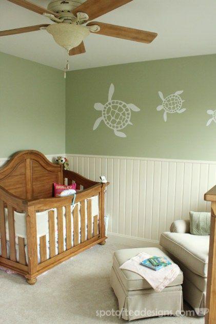 Gender Neutral Sea Turtle Baby Nursery Reveal Greens Creams And Light Browns Spotofteadesigns