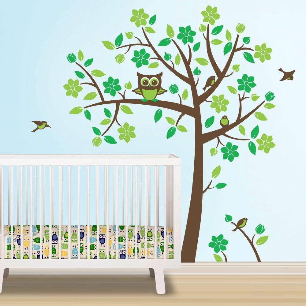 Owl Tree Decal Nursery Theme Wall To Match Crib Bedding Brown