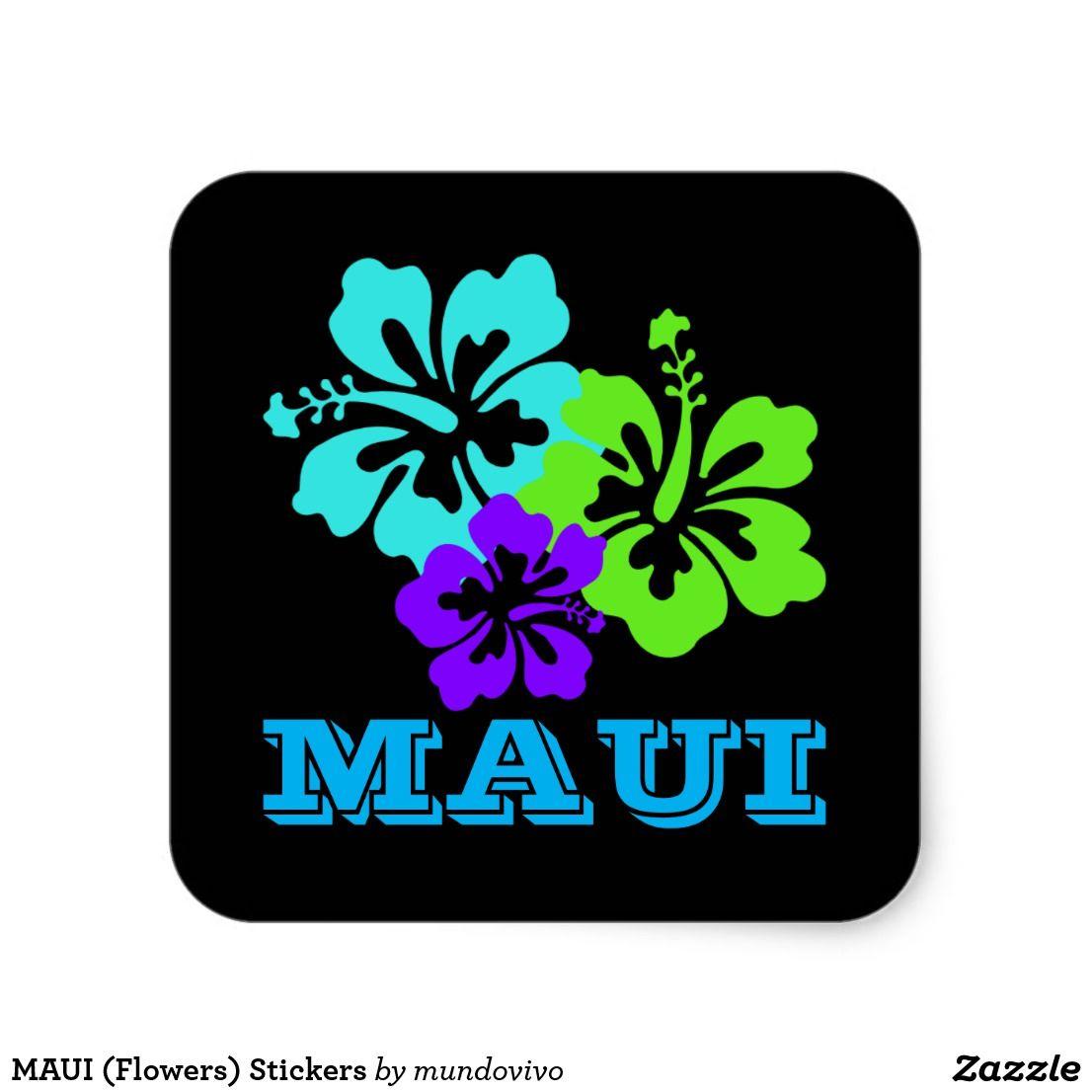 Maui Flowers Stickers Zazzle Com Black Stickers Purple Hibiscus Flowers [ 1106 x 1106 Pixel ]