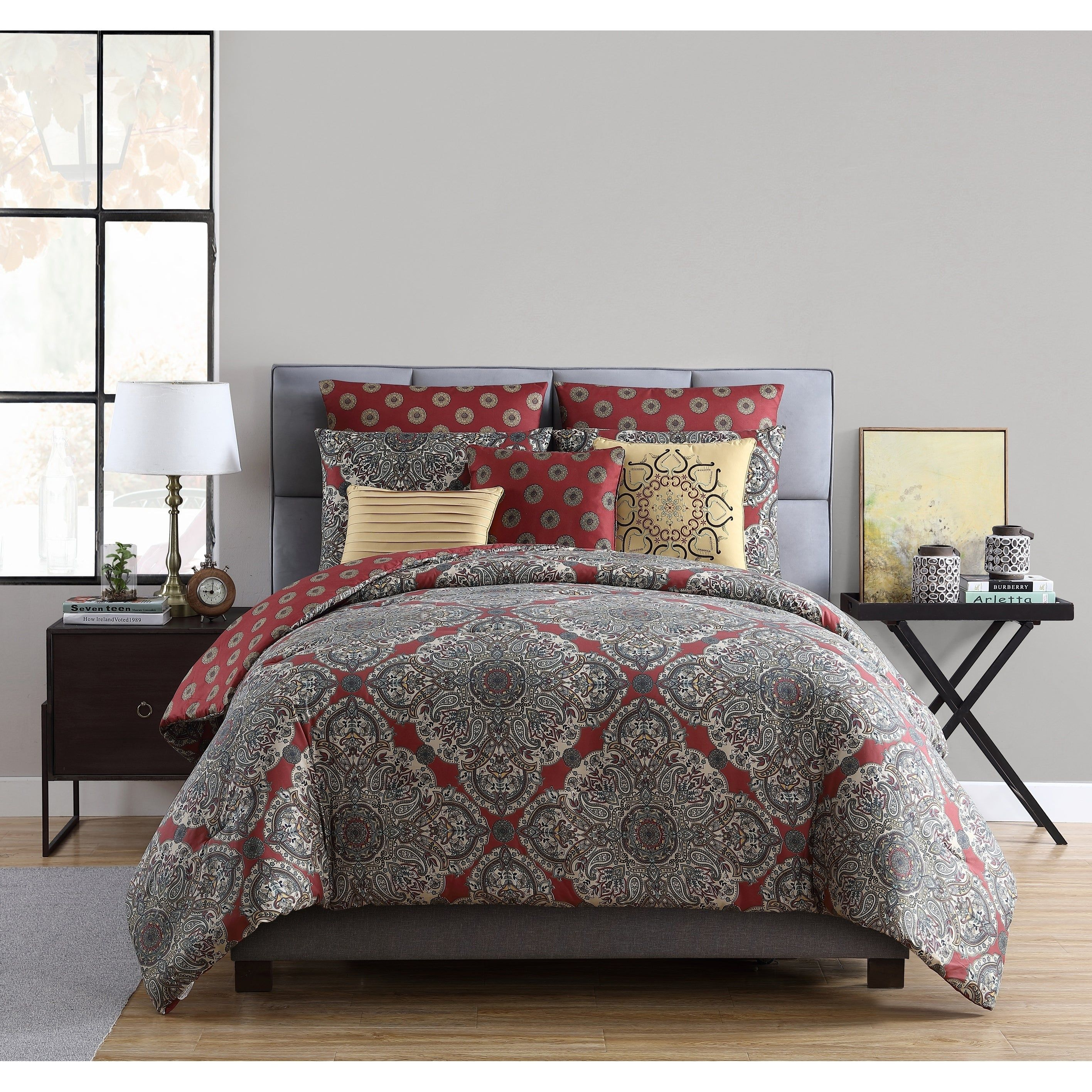 Kalesija Reversible Medallion Comforter Set Full Queen Gray