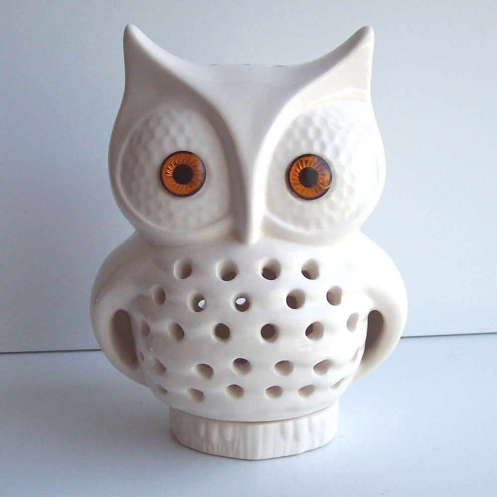 Owl Lamp Vintage Design In White Ceramic Tv Night Light Retro Home Decor Great House Warming Or Baby Shower Gift