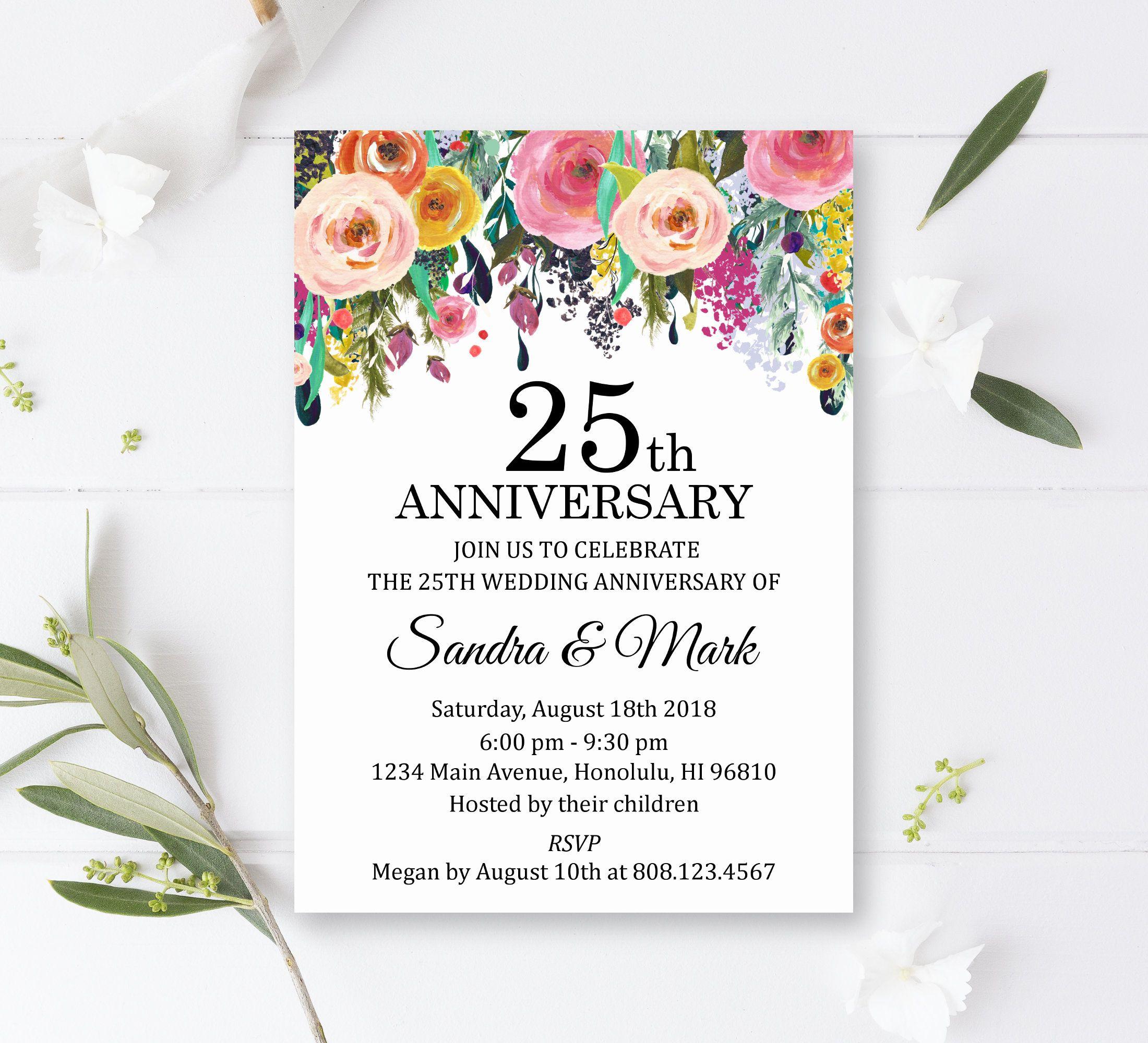 Any Year Wedding Anniversary Invitation Printable Summer