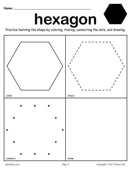 FREE printable hexagon worksheet. This hexagon coloring page and tracing worksheet is perfect for both toddlers and preschoolers. Includes a hexagon plus 11 other shapes worksheets. Get all twelve shape coloring pages and tracing worksheets here --> http://www.mpmschoolsupplies.com/ideas/7557/12-free-shapes-worksheets-color-trace-connect-draw/