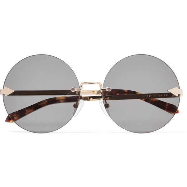 Karen Walker Disco Circus round-frame gold-tone sunglasses (330 CAD) ❤ liked on Polyvore featuring accessories, eyewear, sunglasses, glasses, black, tortoiseshell glasses, oversized tortoise sunglasses, tortoise shell sunglasses, dot sunglasses and uv protection sunglasses