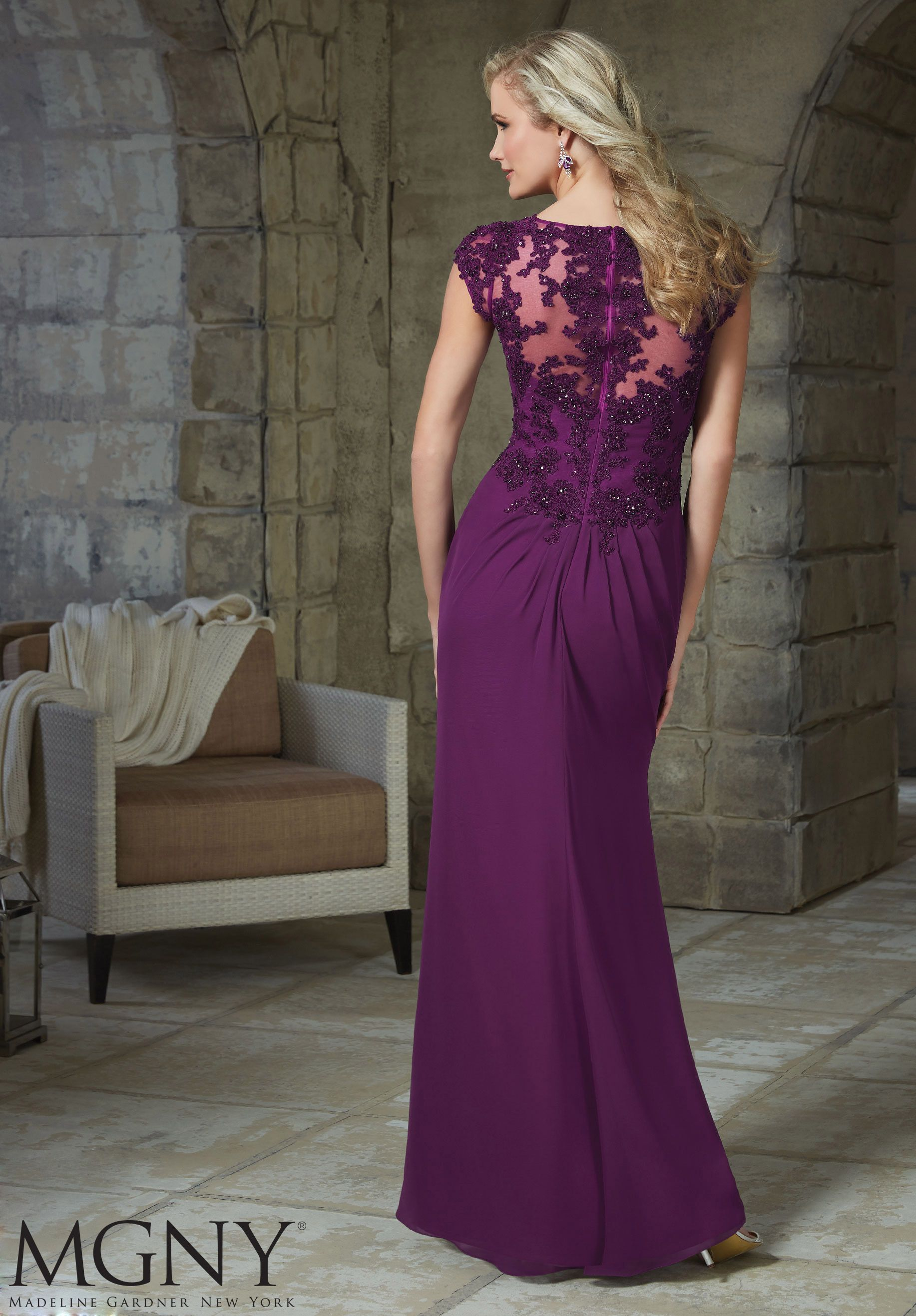Beaded Lace Appliques on Chiffon Evening Gown/Mother of the Bride ...