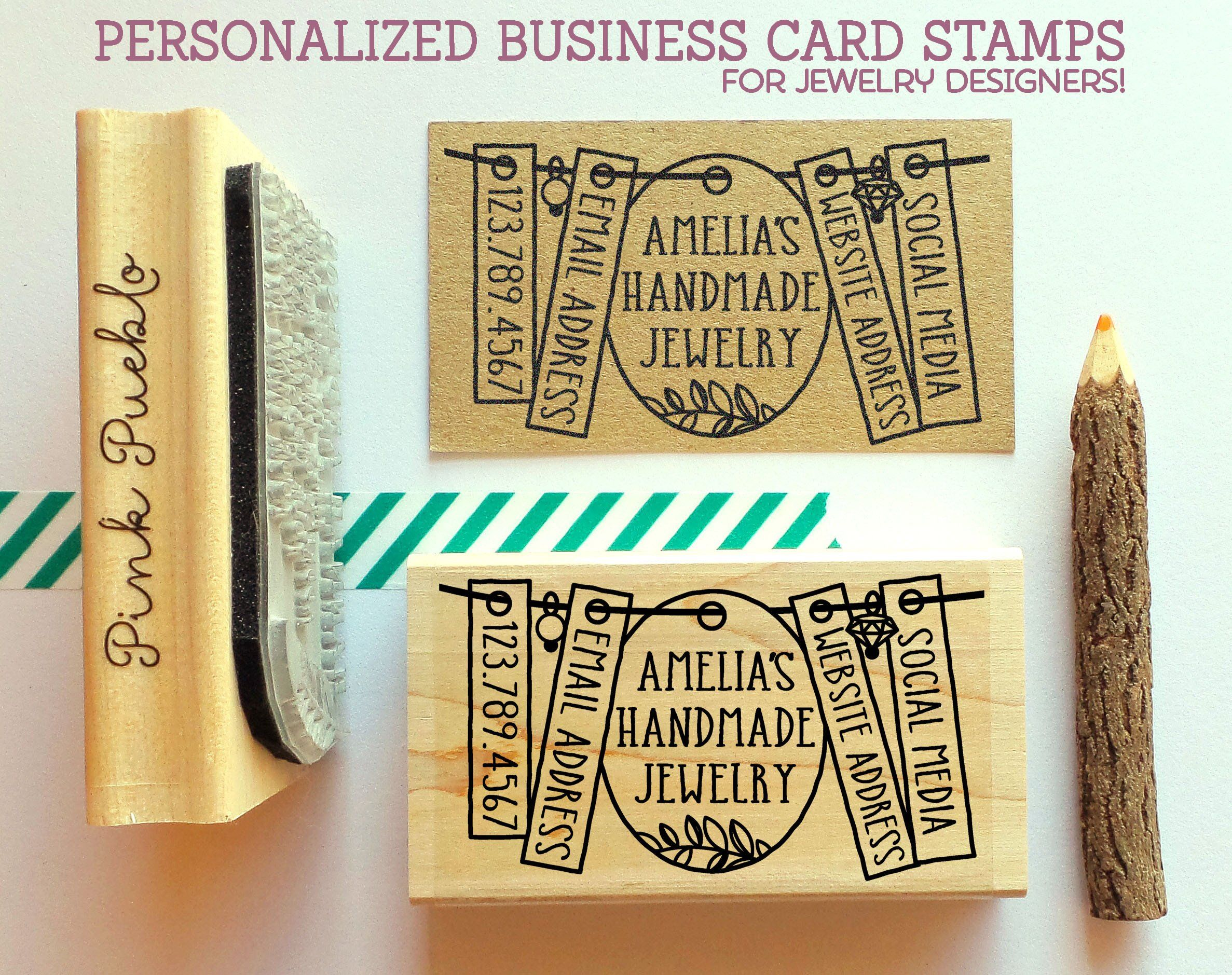 Personalized Business Card Stamp, Business Card Rubber Stamp ...