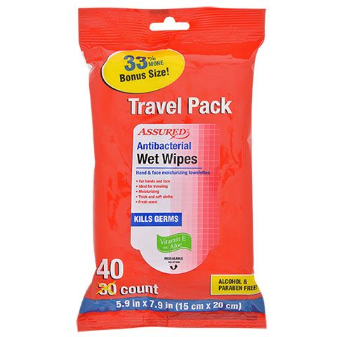Bulk Assured Antibacterial Wet Wipes 40 Ct Travel Packs At