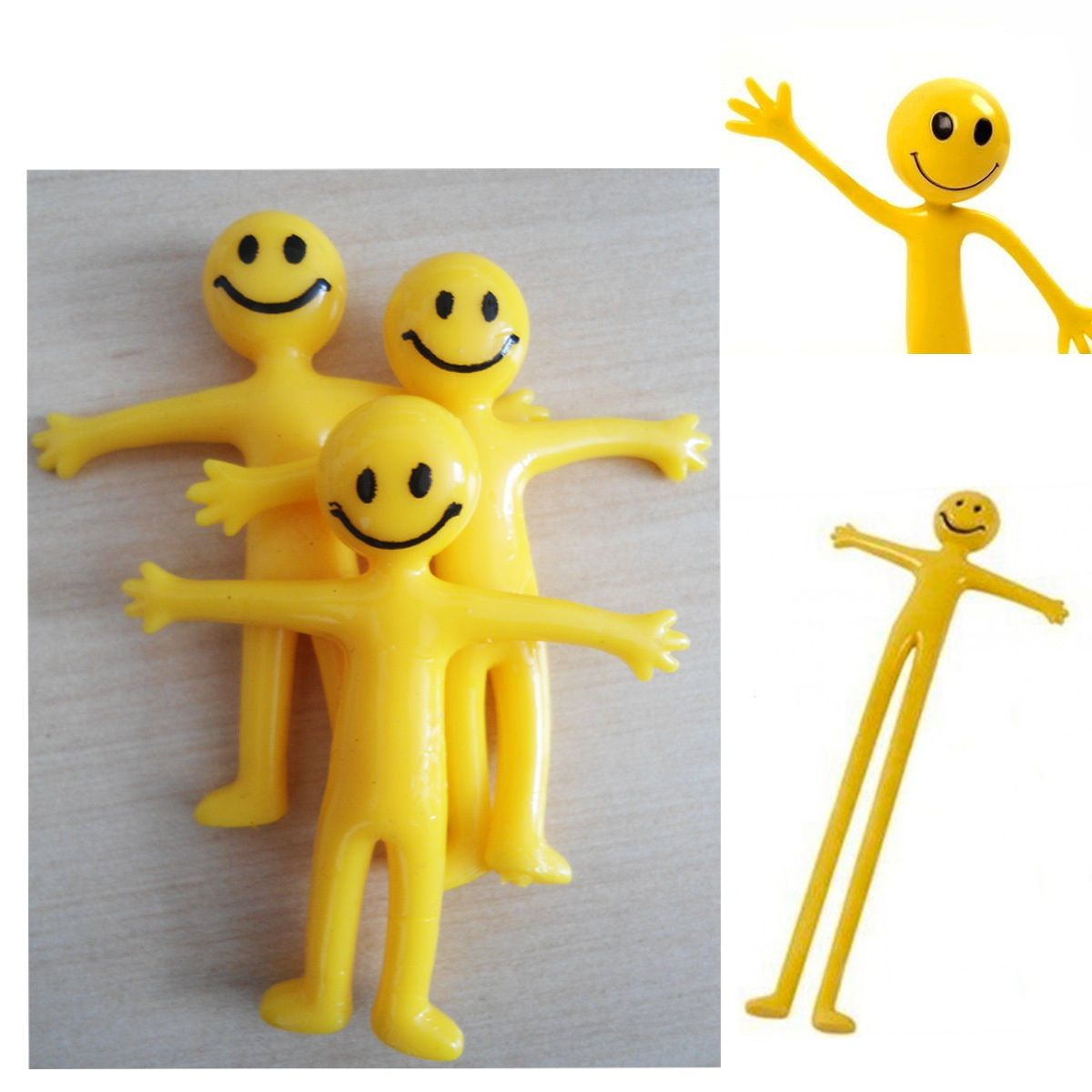 Stretchy Smiley Men Kids Party Fun Loot Bag Filler Mini Stretch Toy Yellow Gift