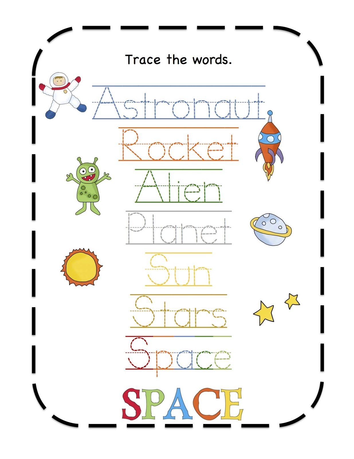 Preschool Printables Space