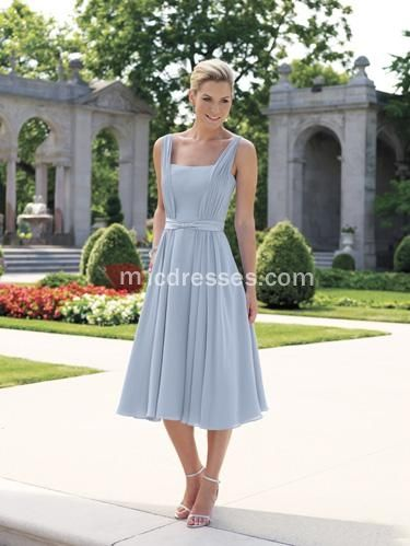 Square empire slate blue chiffon sleeveless pleated belt tea ...