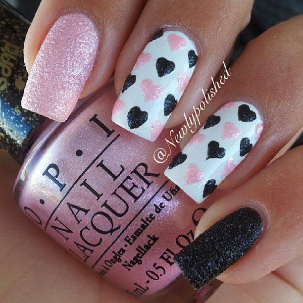 Valentines Day Nail Art Opi Liquid Sand Pussy Galore Pink Opi