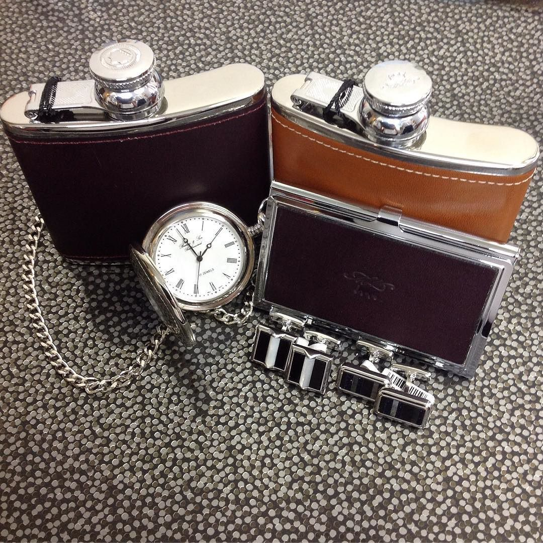 We have great gifts for your grooms party hip flasks pocket watches and cufflinks are perfect keepsakes for best men and ushers  @duncanwaltondesigns @marlboroughofengland #hipflasks diamond #emerald #tourmaline #sapphire #ruby #handmade #jewellery #diamondjewellery #gold #berkhamsted #hertfordshire #london #watch #luxury #england #engagementring #wedding #weddingring #baileyandsons #raymondweil #frederiqueconstant #cufflinks #clogau #bespokejewellery #pendant #ring #bracelet