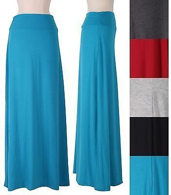 Dear SF stylist.  I have several skirts like this and love them for the summer. Solid Jersey Long Ruched Shirred Side Waistband Long Maxi Flare A-Line Skirt