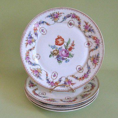 Antique Dresden Porcelain Plates Bavarian Floral Garlands Center Spray 4 1900'S   eBay