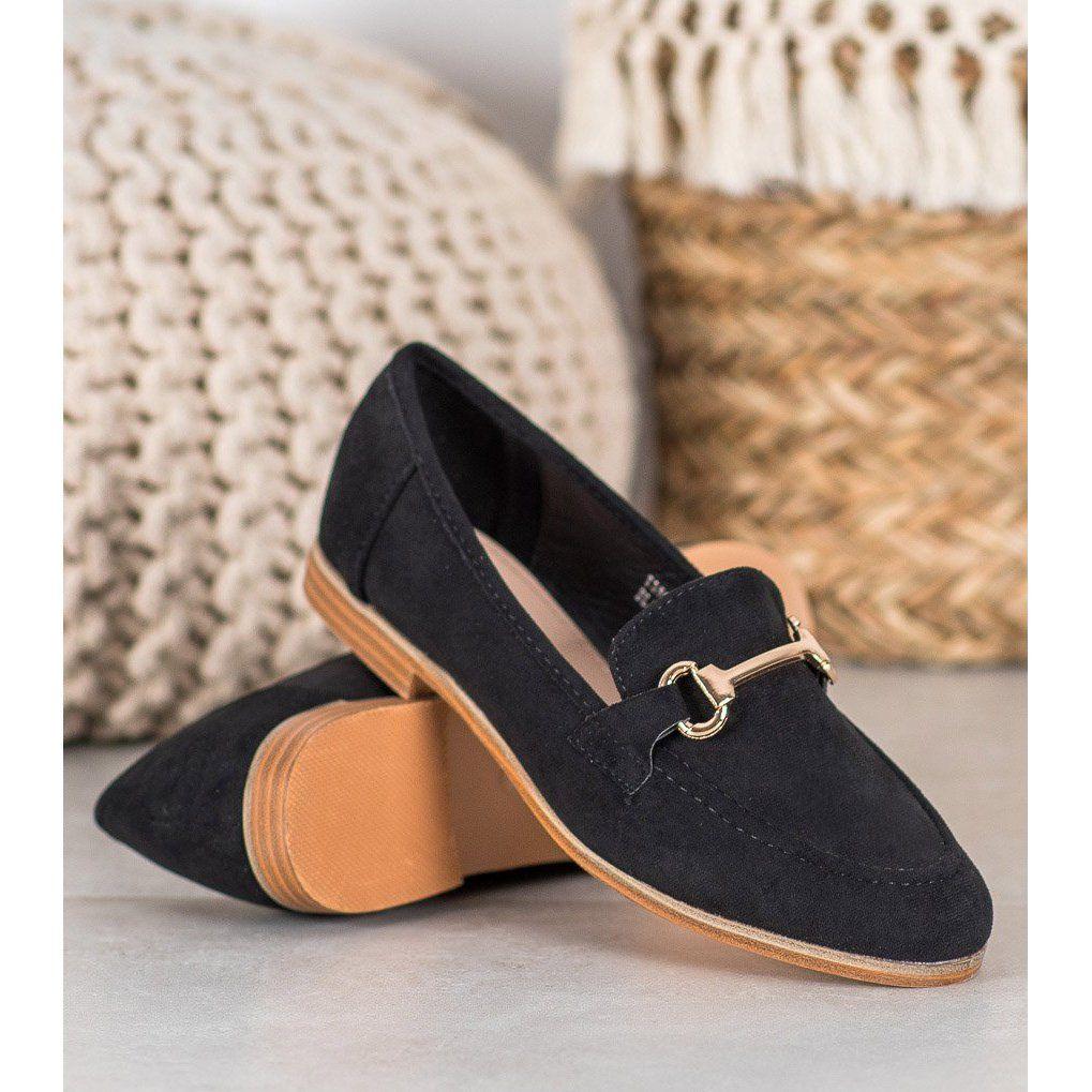 Seastar Eleganckie Buty Wsuwane Czarne Loafers Shoes Fashion