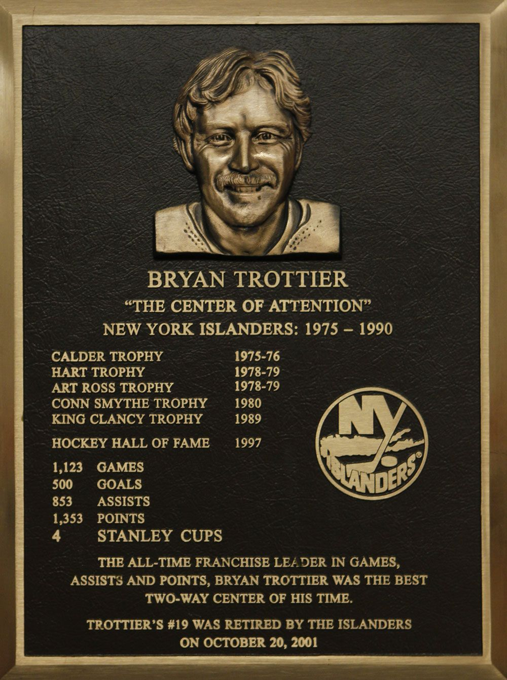 Bryan Trottier S Hall Of Fame Plaque Hockey Hall Of Fame New York Islanders Conn Smythe Trophy