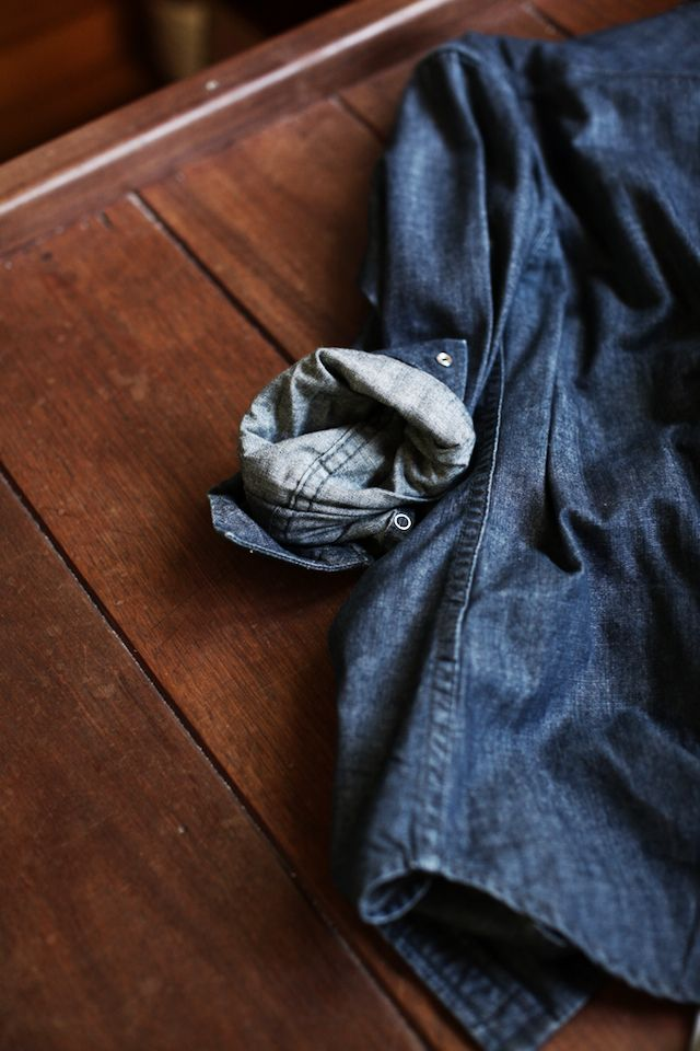 Rustic Blue Farmhouse Style Denim Shirt Mens Fashion Cat