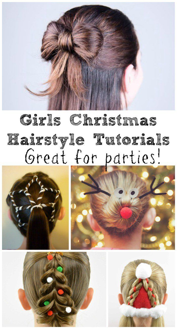 8 Festive Girls Christmas Hair Style Ideas With Tutorials In The Playroom Christmas Hairstyles Christmas Hair Holiday Hairstyles