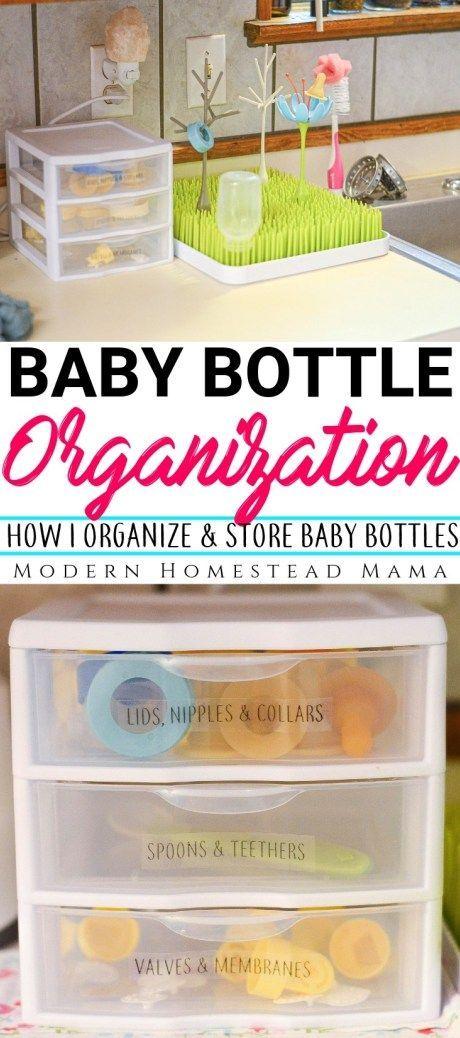 Baby Bottle Organization: How I Organize and Store Baby Bottles   Modern Homestead Mama #homeorganization #organization #babyprep #preparingforbaby #thirdtrimester #pumpingtips #modernhomesteadmama