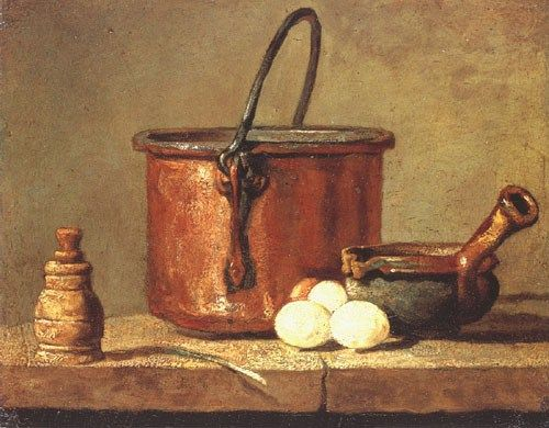 Image: Jean-Baptiste Siméon Chardin - Still life with a pan, pepper pot, leek and three eggs