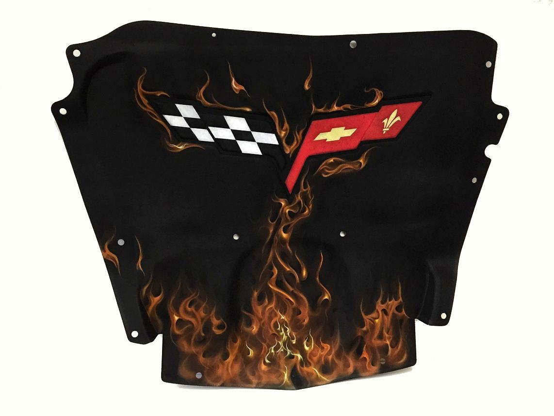 C6 Corvette Airbrushed Hood Liner With True Fire Flames Painted Fuse Box Cover W