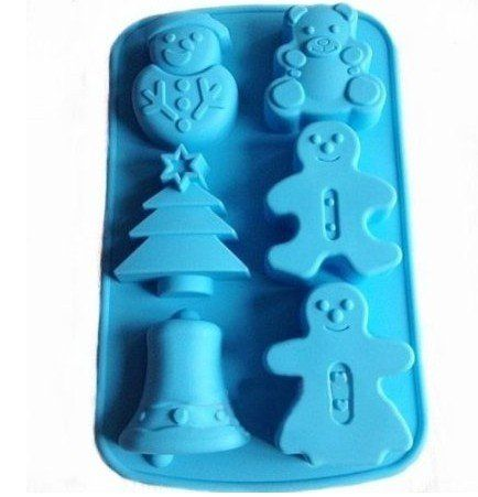 Allforhome 6 Cavities Christmas Bell Sknowman Tree Silicone Cake Baking Mold Cake Pan Muffin Cups Handmade Soap Moulds Biscuit Chocolate Ice Cube Tray DIY Mold >>> Startling review available here at : bakeware