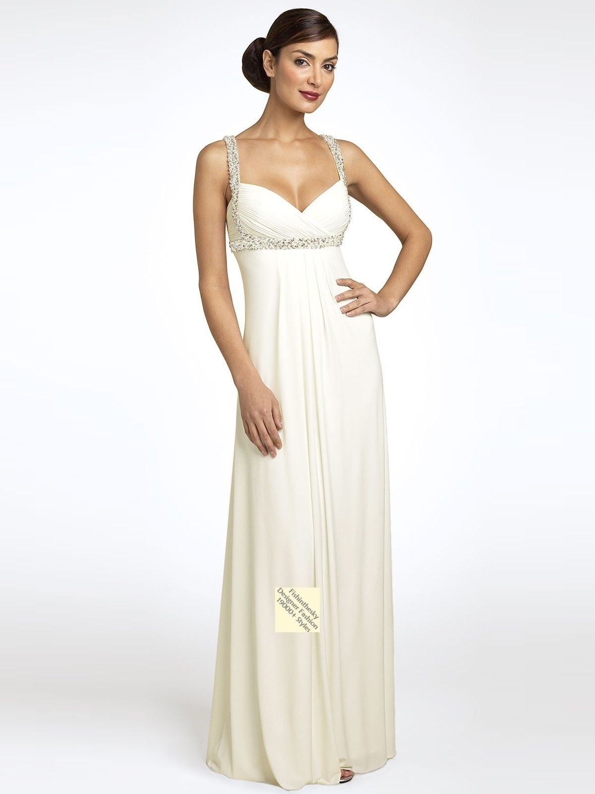 Long white dress love the straps but wish the bottom was more