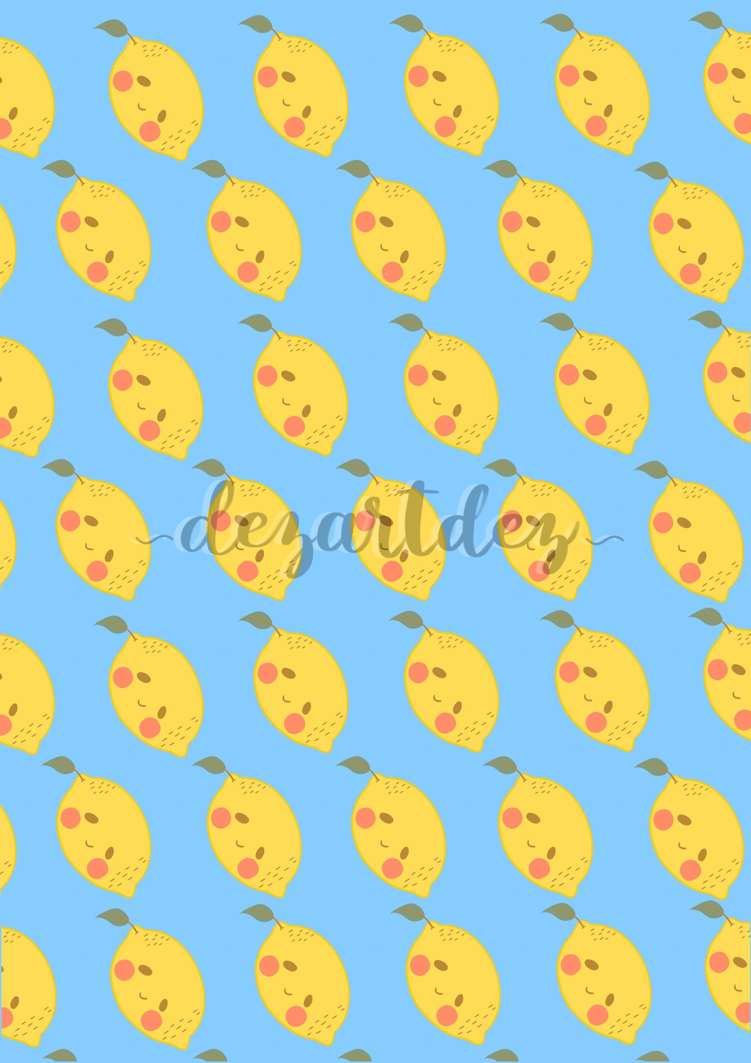 Cute Lemon Boy Blue Digital Print Kawaii Digital Art Print Phone Wallpaper Ipad Background Digital Art Prints Cute Emoji Wallpaper Cute Pokemon Wallpaper