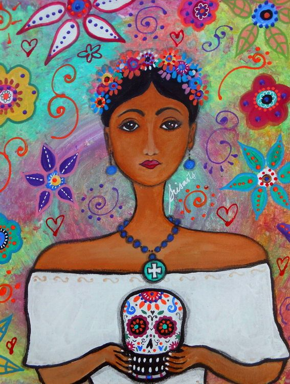 folk art painting mexican artist frida kahlo portrait primitive original wedding day of the dead. Black Bedroom Furniture Sets. Home Design Ideas